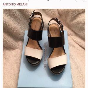 Antonio Melani Black & White Block Platform Wedge